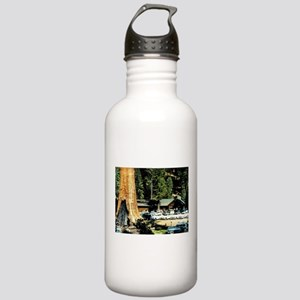 Retro Red Wood Park Water Bottle