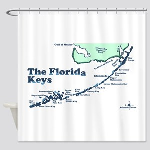 Florida Keys - Map Design. Shower Curtain
