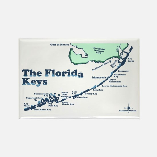 Florida Keys - Map Design. Rectangle Magnet