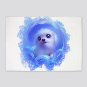 Cute Dog in BLue 5'x7'Area Rug