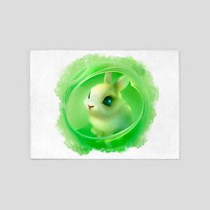 Cute Bunny in Green 5'x7'Area Rug