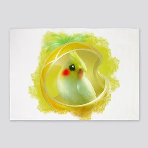 Whimsical Cockatiel -Yellow Bird 5'x7'Area Rug