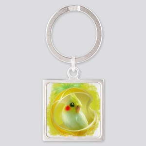 Whimsical Cockatiel -Yellow Bird Square Keychain