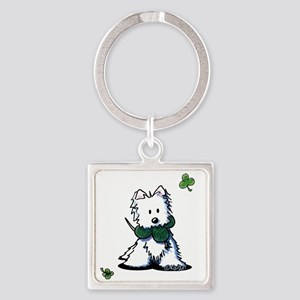 Lucky Clover Westie Square Keychain