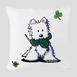 Lucky Clover Westie Woven Throw Pillow