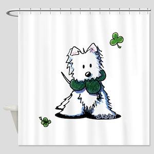 Lucky Clover Westie Shower Curtain
