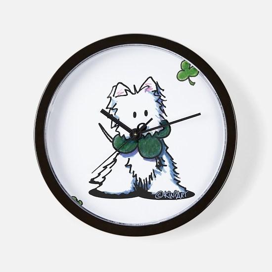 Lucky Clover Westie Wall Clock