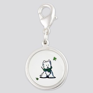 Lucky Clover Westie Silver Round Charm