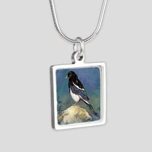 Watercolor Magpie Bird Art Necklaces