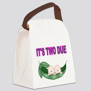 ITS TWO DUE-TWINS IN PEA POD 2 Canvas Lunch Bag
