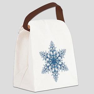 Blue Snowflake Canvas Lunch Bag