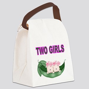TWO GIRLS IN POD Canvas Lunch Bag