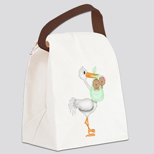 STORK WITH AFRO AMERICAN TWINS- 1 BOY 1 GIRL Canva