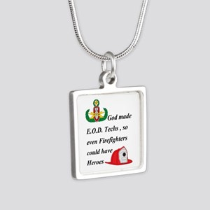 EOD - Firefighter hero Silver Square Necklace