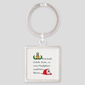 EOD - Firefighter hero Square Keychain