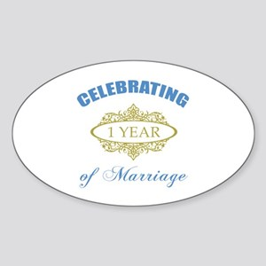 Celebrating 1 Year Of Marriage Sticker (Oval)