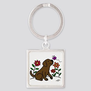 Chocolate Labrador and Green Keychains