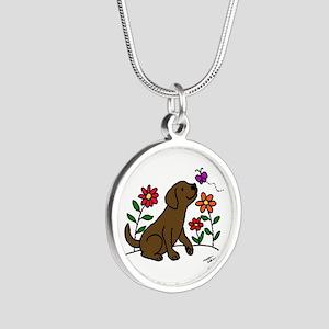 Chocolate Labrador and Green Necklaces