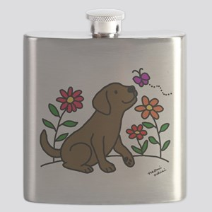 Chocolate Labrador and Green Flask