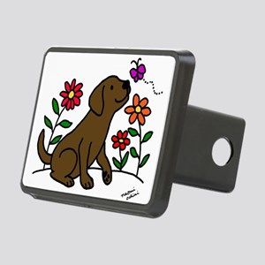 Chocolate Labrador and Green Hitch Cover