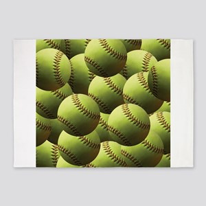 Softball Wallpaper 5'x7'Area Rug