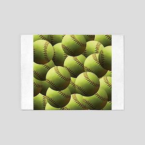 Softball Wallpaper 5'x7'Area Rug