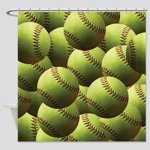 Softball Wallpaper Shower Curtain