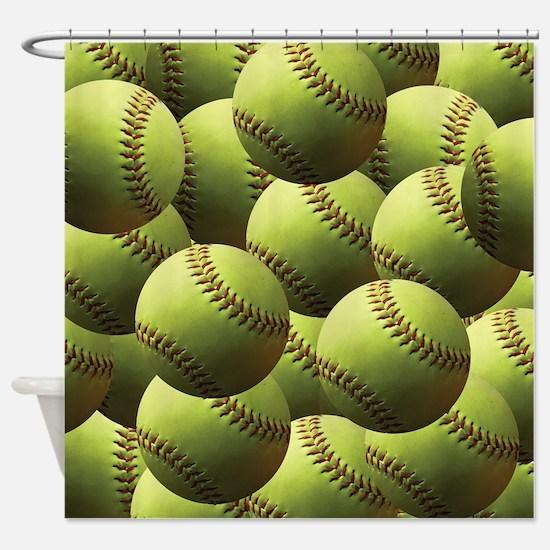 Softball Wallpaper Shower Curtain