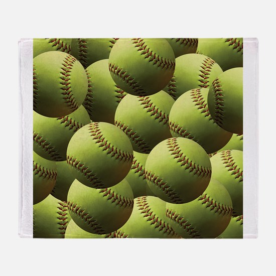 Softball Wallpaper Throw Blanket