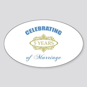 Celebrating 5 Years Of Marriage Sticker (Oval)