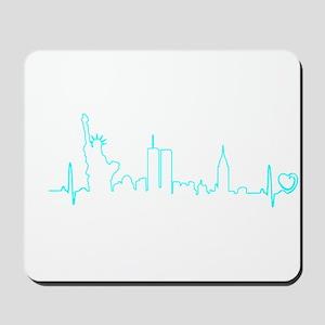 New York Heartbeat (Heart) AQUA Mousepad
