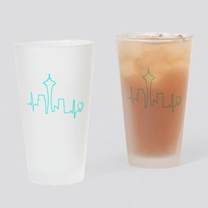 Seattle Heartbeat (Heart) AQUA Drinking Glass