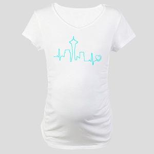 Seattle Heartbeat (Heart) AQUA Maternity T-Shirt