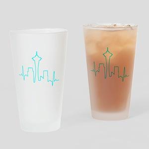 Seattle Heartbeat AQUA Drinking Glass