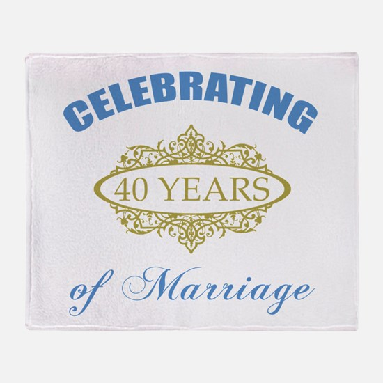 Celebrating 40 Years Of Marriage Throw Blanket