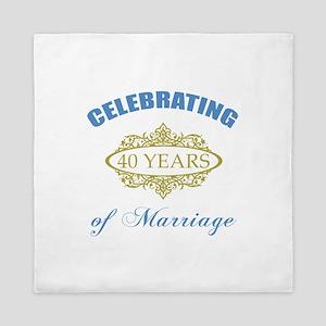 Celebrating 40 Years Of Marriage Queen Duvet