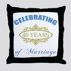 Celebrating 40 Years Of Marriage Throw Pillow
