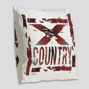 Cross Country Burlap Throw Pillow