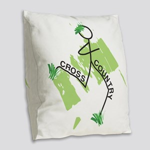 Cute Cross Country Runner Burlap Throw Pillow