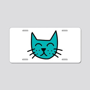 Aqua Cat Face Aluminum License Plate