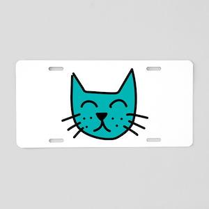 Aqua Cat Face Aluminum License Plate