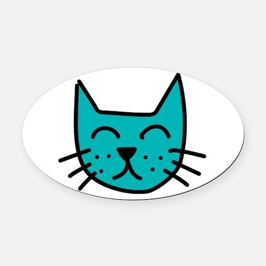 Aqua Cat Face Oval Car Magnet