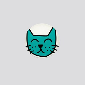 Aqua Cat Face Mini Button