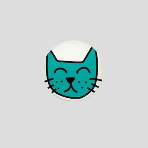 Aqua Cat Face Mini Button