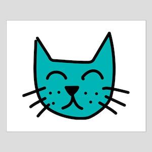 Aqua Cat Face Posters