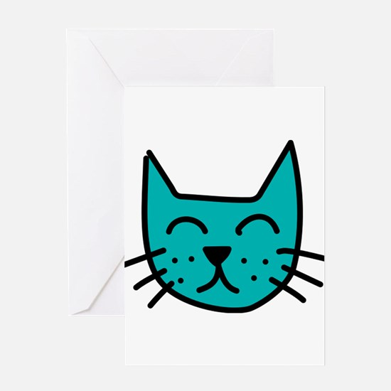Aqua Cat Face Greeting Card