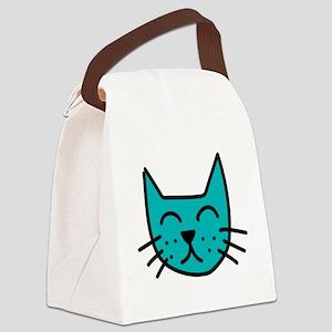Aqua Cat Face Canvas Lunch Bag