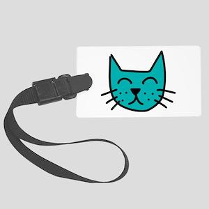Aqua Cat Face Luggage Tag