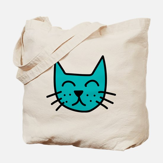 Aqua Cat Face Tote Bag