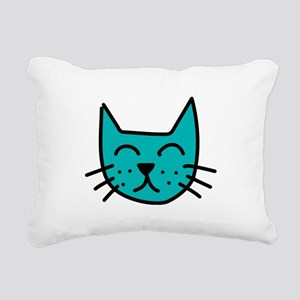 Aqua Cat Face Rectangular Canvas Pillow